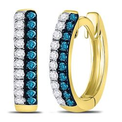 0.20 CTW Blue Color Diamond Huggie Earrings 10KT Yellow Gold - REF-13Y4X