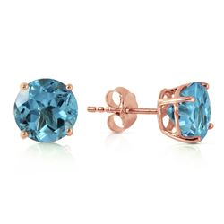 Genuine 3.1 ctw Blue Topaz Earrings Jewelry 14KT Rose Gold - REF-23W9Y