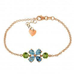 Genuine 3.15 ctw Blue Topaz & Peridot Bracelet Jewelry 14KT Rose Gold - REF-56X4M