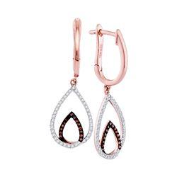 0.26 CTW Red Color Diamond Teardrop Dangle Hoop Earrings 10KT Rose Gold - REF-34K4W