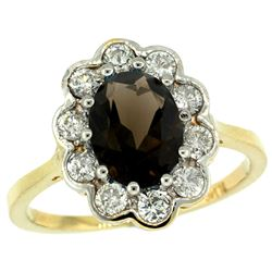 Natural 2.34 ctw Smoky-topaz & Diamond Engagement Ring 14K Yellow Gold - REF-81Y4X
