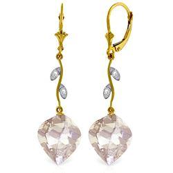 Genuine 25.62 ctw White Topaz & Diamond Earrings Jewelry 14KT Yellow Gold - REF-65X3M