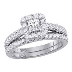 0.96 CTW Princess Diamond Bridal Engagement Ring 14KT White Gold - REF-127F4N