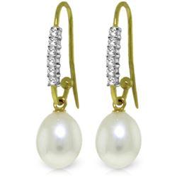 Genuine 8.18 ctw Pearl & Diamond Earrings Jewelry 14KT Yellow Gold - REF-37V7W