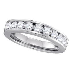1 CTW Diamond Single Row Wedding Ring 14KT White Gold - REF-119K9W
