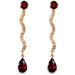 Genuine 4.35 ctw Garnet & Diamond Earrings Jewelry 14KT Rose Gold - REF-62N3R