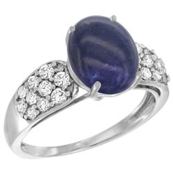 Natural 2.85 ctw lapis-lazuli & Diamond Engagement Ring 14K White Gold - REF-56G7M