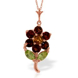 Genuine 1.06 ctw Multi-gemstones Necklace Jewelry 14KT Rose Gold - REF-25A3K