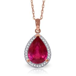 Genuine 5.51 ctw Ruby & Diamond Necklace Jewelry 14KT Rose Gold - REF-98Z3N