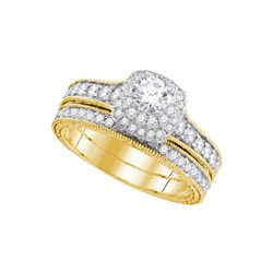 0.99 CTW Diamond Milgrain Bridal Wedding Engagement Ring 14KT Yellow Gold - REF-149F9N