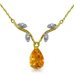 Genuine 1.52 ctw Citrine & Diamond Necklace Jewelry 14KT White Gold - REF-30A7K