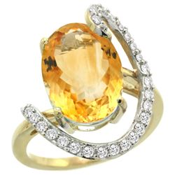 Natural 5.89 ctw Citrine & Diamond Engagement Ring 14K Yellow Gold - REF-91R4Z
