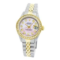 Rolex Pre-owned 26mm Womens Custom Pink Mother of Pearl Two Tone - REF-530K3X