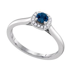 0.07 CTW Blue Sapphire Solitaire Diamond Halo Bridal Ring 14KT White Gold - REF-32W9K