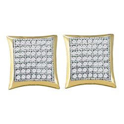 0.33 CTW Diamond Square Kite Square Screwback Earrings 10KT Yellow Gold - REF-30F2N