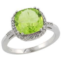 Natural 4.11 ctw Peridot & Diamond Engagement Ring 14K White Gold - REF-48X2A