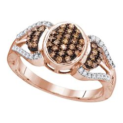 0.33 CTW Cognac-brown Color Diamond Oval Cluster Ring 10KT Rose Gold - REF-22W4K