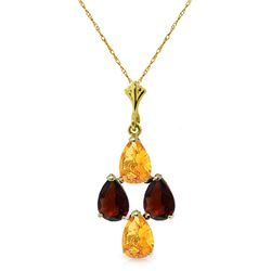 Genuine 1.50 ctw Citrine & Garnet Necklace Jewelry 14KT Yellow Gold - REF-20X4M
