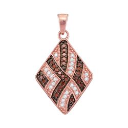 0.33 CTW Red Color Diamond Diagonal Square Pendant 10KT Rose Gold - REF-20H9M