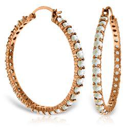 Genuine 6 ctw Aquamarine Earrings Jewelry 14KT Rose Gold - REF-122N2R