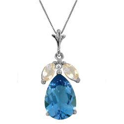 Genuine 6.5 ctw Blue Topaz & White Topaz Necklace Jewelry 14KT White Gold - REF-38Y2F