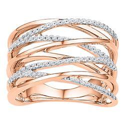 0.25 CTW Diamond Crossover Strand Fashion Ring 10KT Rose Gold - REF-33M8H