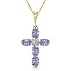 Genuine 1.75 ctw Tanzanite & Diamond Necklace Jewelry 14KT Yellow Gold - REF-52F9Z