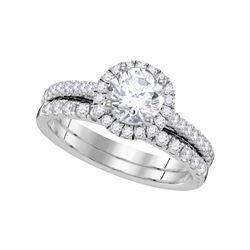 1.33 CTW Diamond Halo Bridal Engagement Ring 14KT White Gold - REF-330N2F