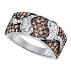 0.85 CTW Cognac-brown Color Diamond Cocktail Ring 10KT White Gold - REF-49H5M
