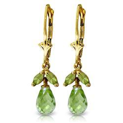 Genuine 3.4 ctw Peridot Earrings Jewelry 14KT Yellow Gold - REF-26Z6N