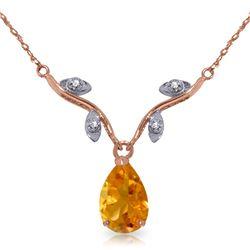Genuine 1.52 ctw Citrine & Diamond Necklace Jewelry 14KT Rose Gold - REF-30T7A