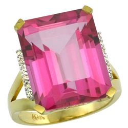 Natural 12.13 ctw Pink-topaz & Diamond Engagement Ring 14K Yellow Gold - REF-71F2N