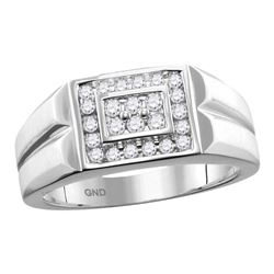 0.38 CTW Mens Diamond Rectangle Cluster Ring 10KT White Gold - REF-52X4Y