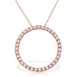 Genuine 0.52 ctw Diamond Anniversary Necklace Jewelry 14KT Rose Gold - REF-70F4Z