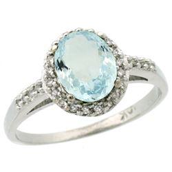 Natural 1.13 ctw Aquamarine & Diamond Engagement Ring 10K White Gold - REF-29Z7Y