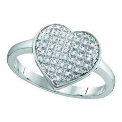 0.10 CTW Diamond Heart Love Cluster Ring 10KT White Gold - REF-12F2N