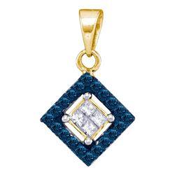 0.30 CTW Blue Color Diamond Diagonal Square Pendant 10KT Yellow Gold - REF-18Y2X