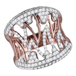1.06 CTW Diamond Cocktail Ring 10KT Two-tone Gold - REF-104F9N