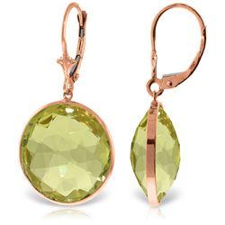 Genuine 34 ctw Quartz Lemon Earrings Jewelry 14KT Rose Gold - REF-58N2R