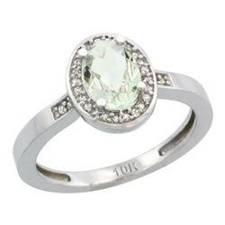 Natural 1.08 ctw Green-amethyst & Diamond Engagement Ring 14K White Gold - REF-31M3H