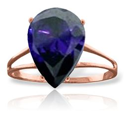 Genuine 4.65 ctw Sapphire Ring Jewelry 14KT Rose Gold - REF-52M4T