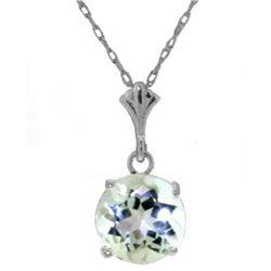 Genuine 1.15 ctw Aquamarine Necklace Jewelry 14KT White Gold - REF-22N8R