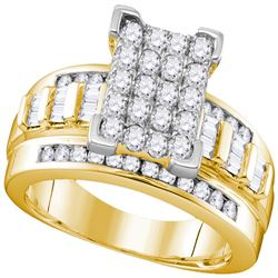 2 CTW Diamond Cluster Bridal Engagement Ring 10KT Yellow Gold - REF-121K4W