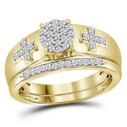 0.25 CTW Diamond Cluster Cross Bridal Wedding Engagement Ring 10KT Yellow Gold - REF-30K2W