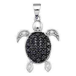 0.30 CTW Black Color Diamond Turtle Tortoise Shell Pendant 10KT White Gold - REF-14X9Y