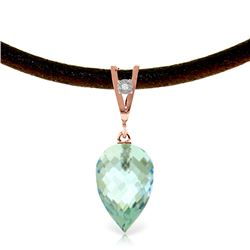 Genuine 11.26 ctw Blue Topaz & Diamond Necklace Jewelry 14KT Rose Gold - REF-46W7Y