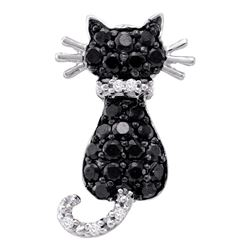 0.33 CTW Black Color Diamond Kitty Cat Animal Pendant 10KT White Gold - REF-13H4M