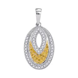 0.20 CTW Yellow Color Diamond Oval Milgrain Pendant 10KT White Gold - REF-18F2N