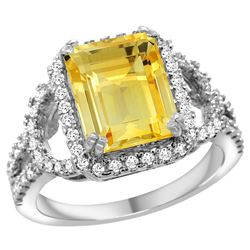 Natural 3.08 ctw citrine & Diamond Engagement Ring 14K White Gold - REF-106A3V