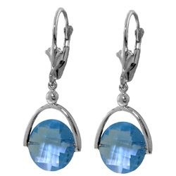 Genuine 6.5 ctw Blue Topaz Earrings Jewelry 14KT White Gold - REF-43N4R